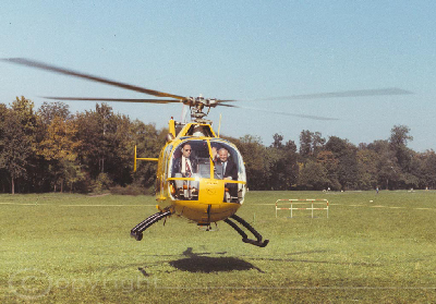 1970 Christoph-Namensgebung Bo 105 in gelb flug